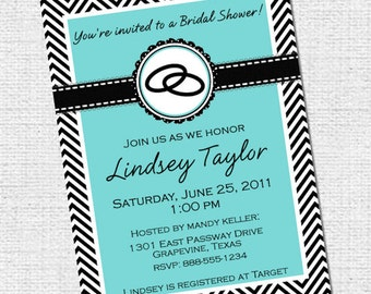 Chevron Bridal Shower Invitation Monogram Blue Grey Gray Digital DIY Invite YOU PRINT Bride Teal aqua Robin's Egg black Wedding lingerie