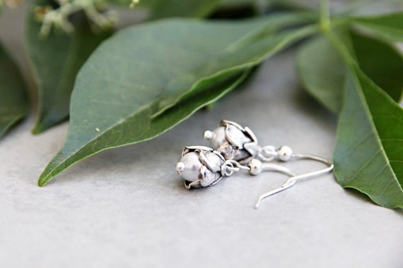 Snow Drops - Pearl and Silver Flower Bud Earrings