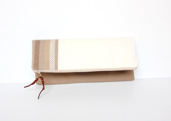 Fold Over Clutch, Khaki Brown Foldover Purse, Canvas Folded Handbag, Evening bag
