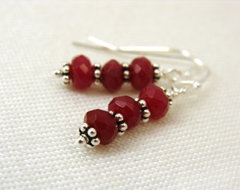 Red chalcedony gemstone earrings with sterling silver