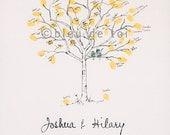Fingerprint Tree Wedding Guest Book Alternative, Original Hand-drawn Small Birch Tree Design (ink pads sold separately)