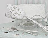 PERSONALIZED Hand Stamped Vintage Wedding Cake Fork & Server Set - Add Your Names and Wedding Date - Serve and Eat Your Cake In Style