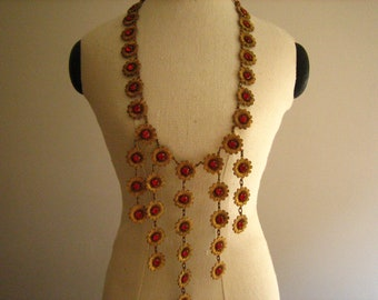 Vintage 1940's Art Deco Floral Cherry Red Glass Cabochon Bib Dangle Necklace  .....2312