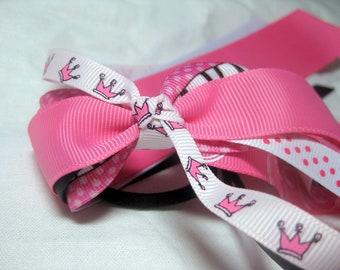 Cheer Ribbons pink princess crowns ponytail holder