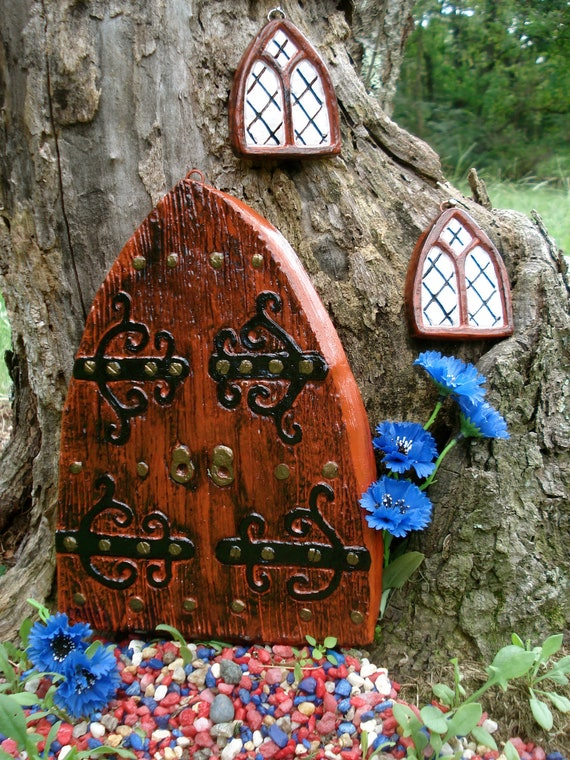 Large fairy door set fairy door kit fairy garden kit fairy for Large gnome doors