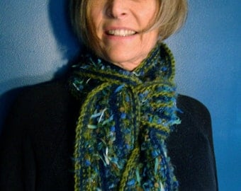 Hand Knit Scarf : SALE! Gathering Rosebuds - a warm, colorful, striped, winter hand knit women's scarf