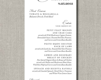 Set of 50 Menus for Weddings, Events, Parties and More - Signature Wedding Collection - by Abigail Christine Design