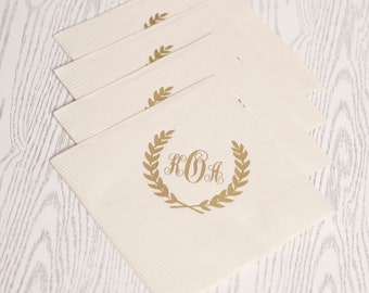 Foil Wedding Cocktail Napkins - Laurel Wreath Monogram Custom Printed Napkins - for Weddings, Events, and More by Abigail Christine Design