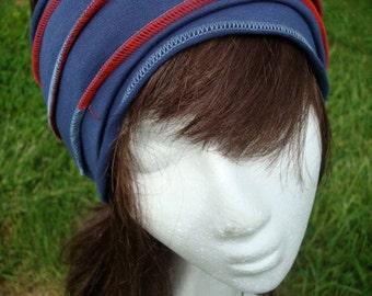 Womens Extra wide Lycra Stretch Headband Head Wrap Black with Purple stitching