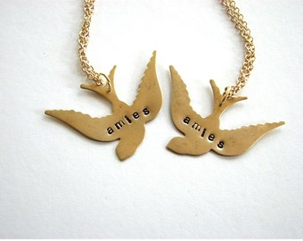 amies - french friends swallow bird necklace set - personalized custom jewelry bff necklace Valentine's Day