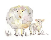 gray, Sheep Nursery art, Sheep Print, Nursery Decor, sheep painting, gender neutral, Baby boy or girl nursery