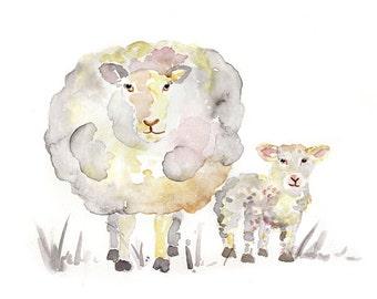 gray, Sheep Nursery art, Sheep Print, Nursery Decor, sheep painting, gender neutral, Baby boy or girl nursery
