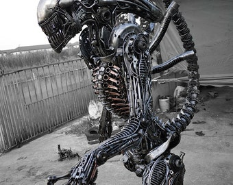 Biomechanical Recycled Metal Monster (made-to-order)