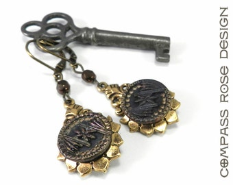 Victorian Button Jewelry Antique Button Earring Gold Copper Star Mirror Edwardian Style Jewelry