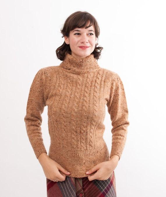 Vintage Turtleneck Sweater - 70s Sweater - Camel Tweed