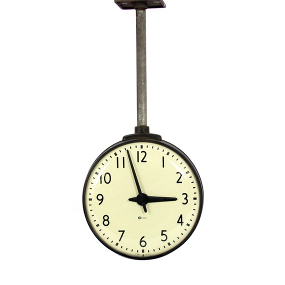 vintage hanging double-sided clock