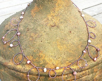 Summer Outdoors Pink Seed Bead Necklace Pink Necklace Pink Pearl Necklace Bubble Necklace Long Necklace Doubled or 4 Wrap Bracelet Pink Gift