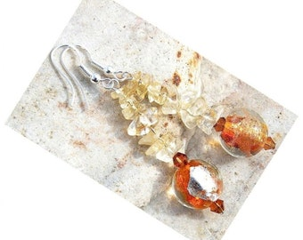 Summer Party Citrine Earrings Gemstone Earrings Genuine Murano Glass Earrings Gorgeous Orange Fire Lampwork Glass Jewelry Sterling Silver