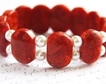 Red Sponge Coral Bracelet White Pearl Bracelet Gift for her Red White Beaded Bracelet Bohemian Jewelry Stacking Bracelet