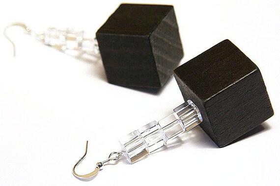 Cube Earrings, Modern Edgy Minimalist Geometric Earrings, Dark Chocolate Brown Wood, Clear Glass Cubes, Sterling Silver Earrings Nature
