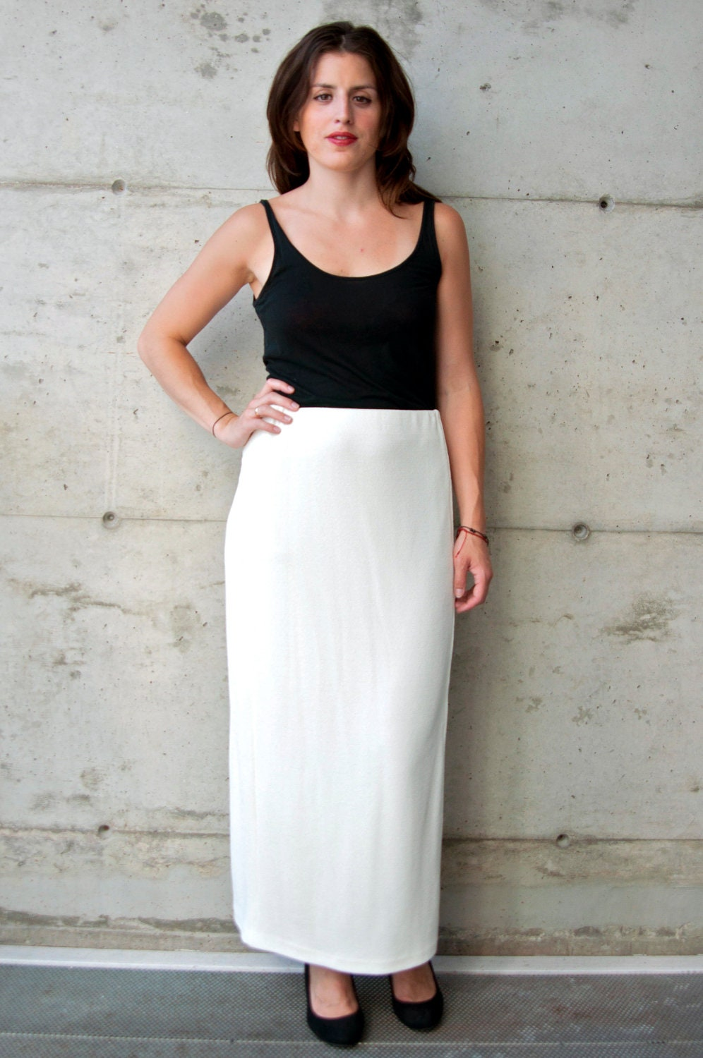 MaxI Pencil Skirt / Vintage Cream Skirt / Long Straight Skirt