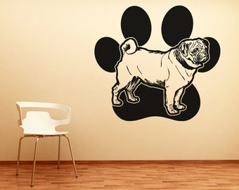 Vinyl Wall Decal Sticker Pug and Dog Paw OSAA618s
