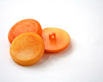 Tangerine Vintage Buttons - 1950s - 1960s Plastic Buttons - New Old Stock Buttons - SIX medium Orange Buttons