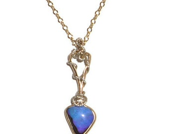 Wire Wrapped 4ct Purple Blue Boulder Opal Pendant  Silver & 14K Rolled Gold