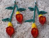 Rosie Red Yellow Calla Lily Flower Handmade Earrings