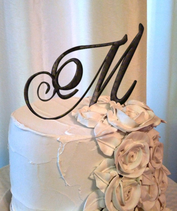 Items similar to Letter M Wedding Cake Topper in Chocolate ...