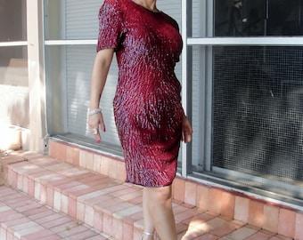 80s Vintage Glam Laurence Kazar Burgundy Sequin Beaded Evening Dress