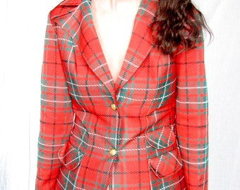 SALE // MARTY GUTMACHER Double Polyester Plaid Blazer