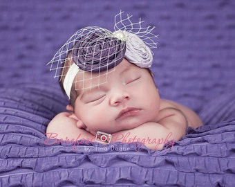 purple newborn Headband, baby headband, infant headband, baptism headband
