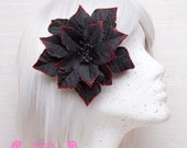 Black Poinsettia Hair Flower. Red, Silver, Christmas, Winter, Bridal Accessories, Goth, Lolita, Rockabilly, hairclip, ornament, glitter
