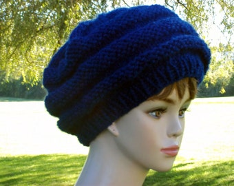 Slouch Hat Women Knit Honeycomb Style Blue Slouchy Beret