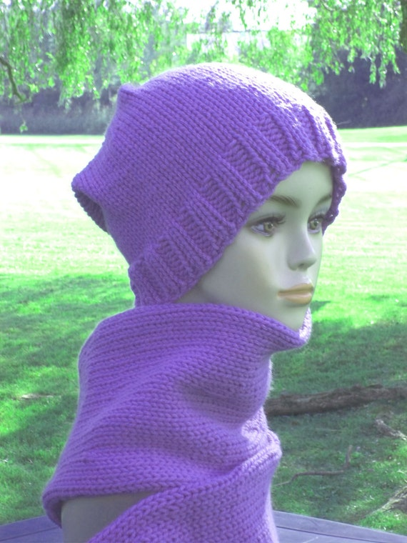 Knitting Pattern For Hat With Scarf Attached : Items similar to Knit Hat Women With Attached Scarf Purple on Etsy