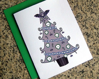 tim burton inspired holiday christmas tree cards / notecards / thank you notes (blank/custom printed inside) with envelopes - set of 10