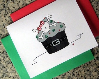 skull cupcake holiday christmas cards / notecards / thank you notes (blank/custom printed inside) with red/green envelopes - set of 10