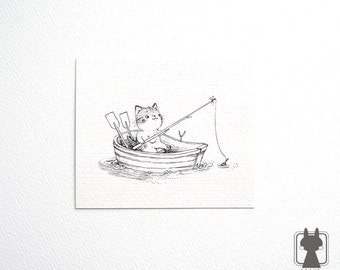 Fishing boat drawing etsy for How to draw a fishing boat