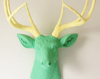 Mint & Soft Yellow Deer Head Wall Mount