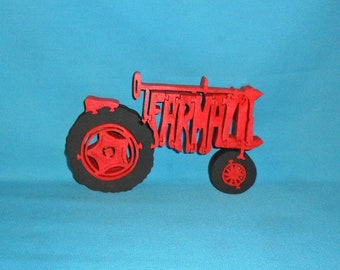 Farmall Red Tractor Scroll Saw Wooden Puzzle