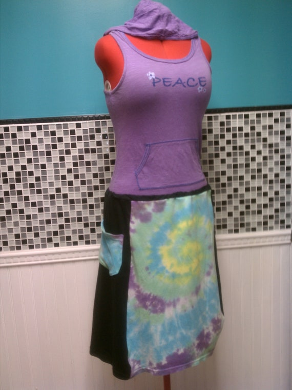 Tie Dye Hand Dyed Recycled Upcycled   T Shirt Hippie Skirt XS-XXL
