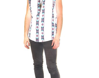 Side-Fringe Tank Top Fashioned Out of Vintage Men's Wrangler Button Down with Electric Navajo Print Original by Repose