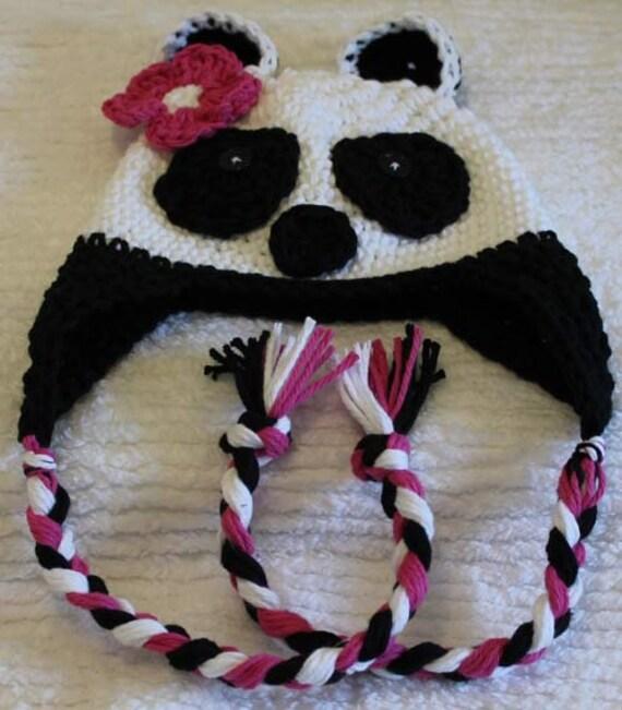 Panda Bear Earflap Hat Crochet Pattern : Crochet Panda Bear Earflap Hat Custom Size by ...