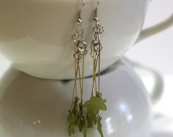 Green Leaves Silver Fashion Earrings - Fall Trends - Fall Fashion - Womens Earrings - Womens Jewelry - Handmade - 925 sterling silver hook