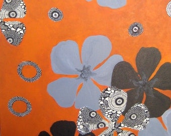 "POPPIES original COLLAGE painting-POPPY 18""x18"" grey black terracotta"