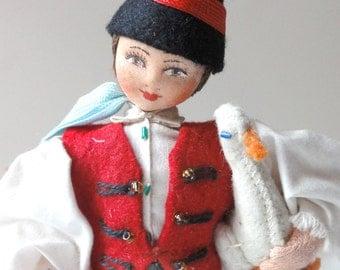 Vintage Folk Art Costume Boy Doll Czechoslovakia Czech
