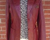 Vintage Etienne Aigner Burgundy Leather Jacket Sz 8