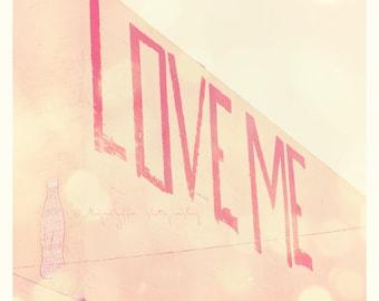 pink home decor, photography, love me, romantic print, street art, red letters, Valentines, art print, nursery art, wedding, engagement art