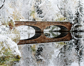 Bridge Photograph, Bridge in Winter, Winter photography, Reflection,white snow, icy cold, Holiday decor, bridge, minimalist, READY TO SHIP